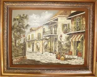 Signed Oil On Canvas Village Scene