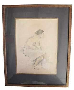 Raphael Soyer Signed Pencil Portrait.