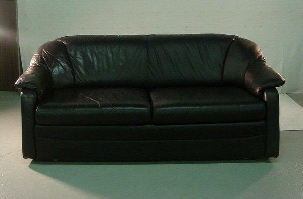 11: Modern Italian Black Leather Sofa