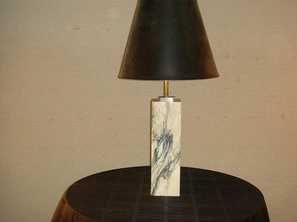 18: TH Robsjohn Gibbons marble table lamp