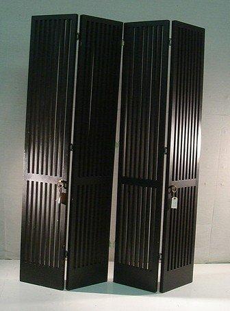 20: Pair black slatted doors in  style of Herman Miller