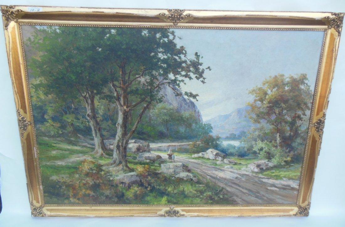 Italian Mountainscape.  Oil on Canvas.  Massive.