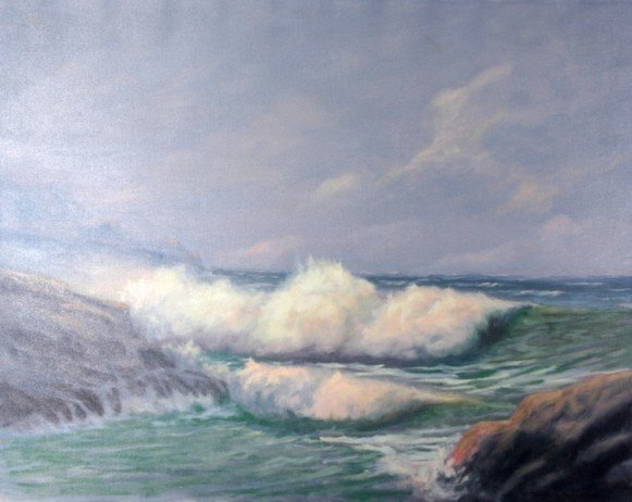 Oil on Canvas of Ocean by C. Eugene Holdoman