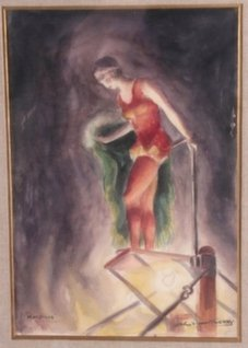 John Steuart Curry Watercolor of a Highdiver.
