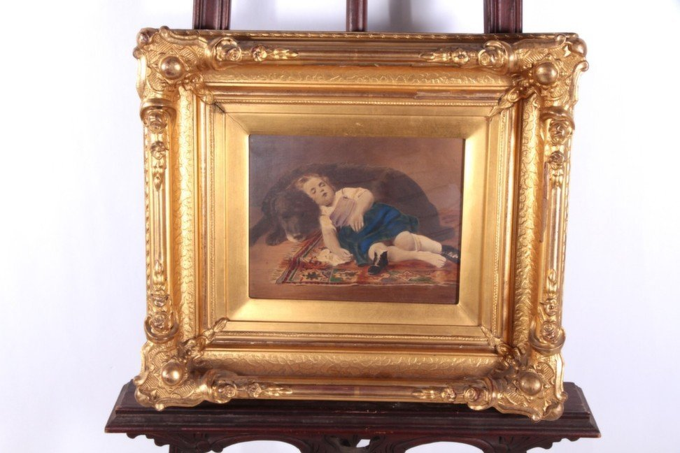 Hand colored portrait in stunning Period Frame