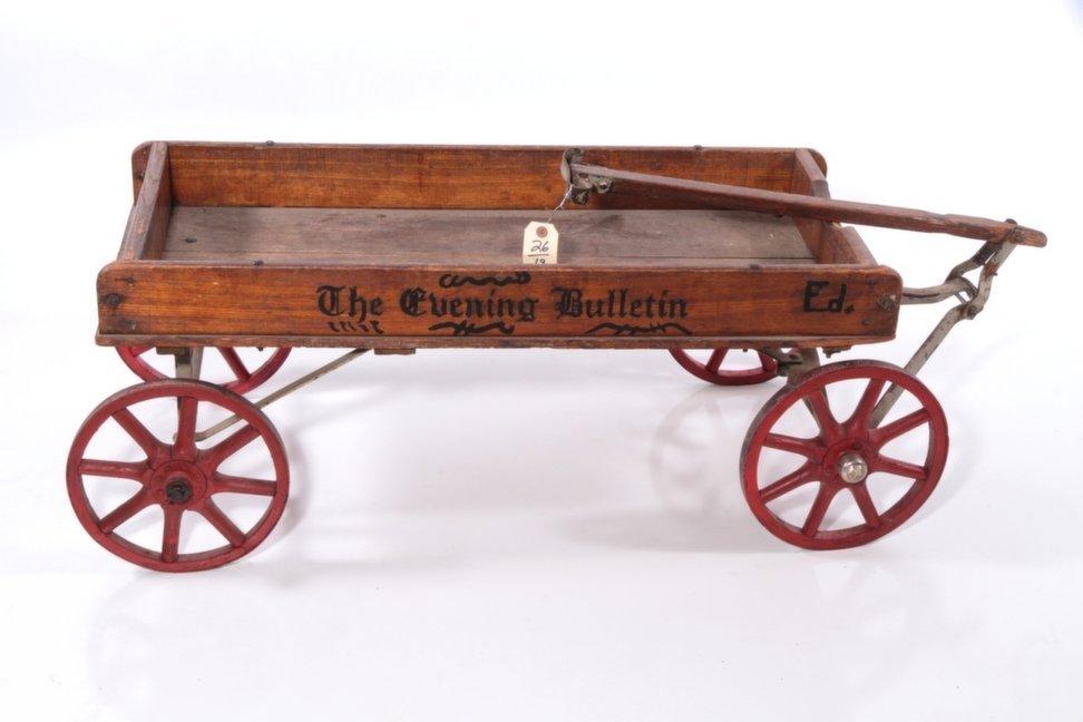 """The Philadelphia Evening Bulletin"" Antique Oak Wagon"
