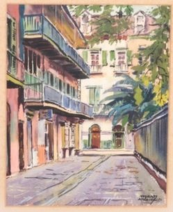 Pair of watercolors by Stuart Archibald of New Orleans
