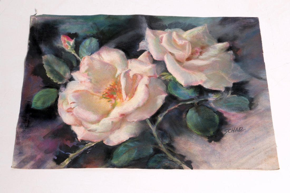 Watercolor of Roses signed Schad