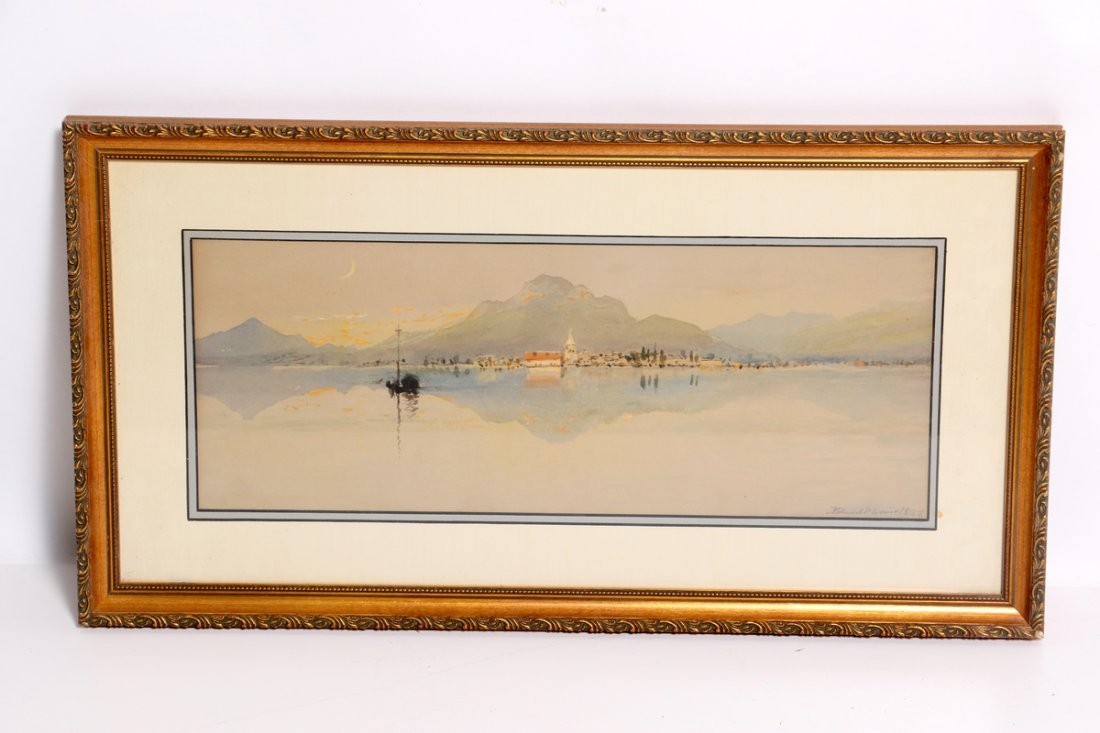 Edmund Darch Lewis Watercolor of Lake  with Mountain