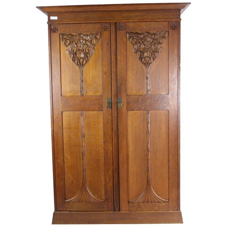 Art Nouveau Carved Wood Wardrobe