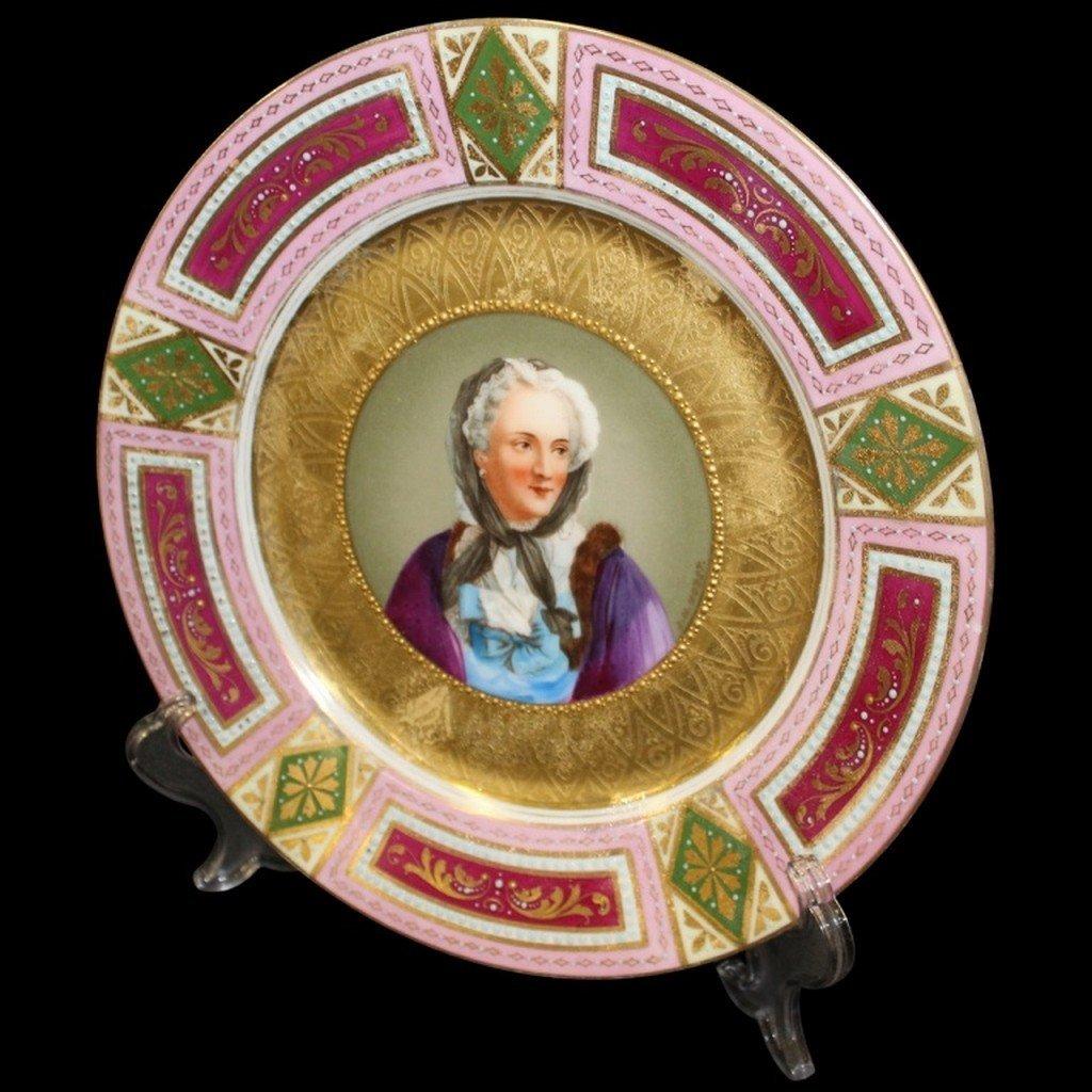 Royal Vienna Portrait Plate Victorian.