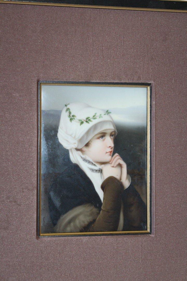 Hand Painted Portrait on Porcelain German bride - 2