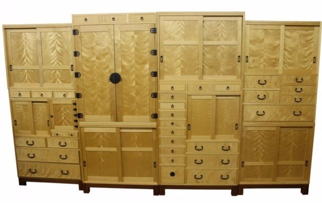 Contemporary Tansu Style Birch Cabinet by Shapson