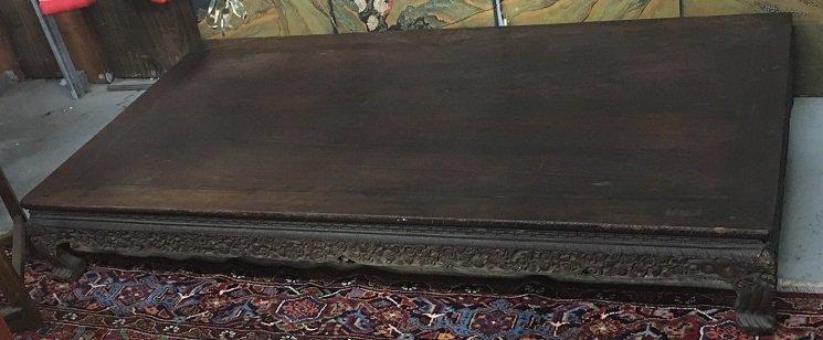 Asian Hardwood Carved Kang Table