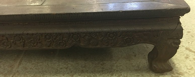 Asian Hardwood Carved Kang Table - 2