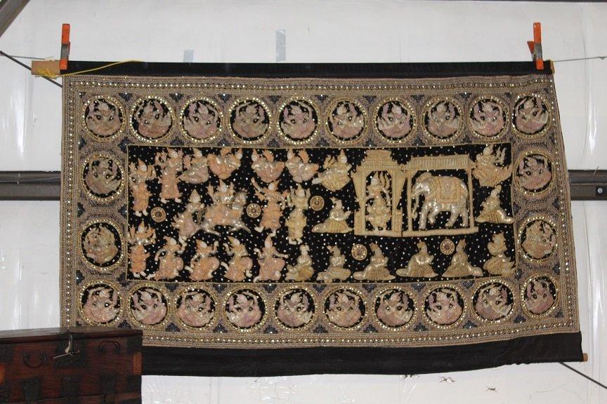 Burmese Kalaga Textile Tapestry Wall Hanging.