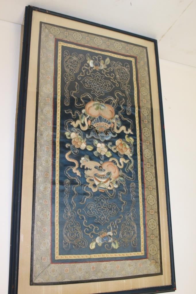 Framed Antique Silk Embroidery