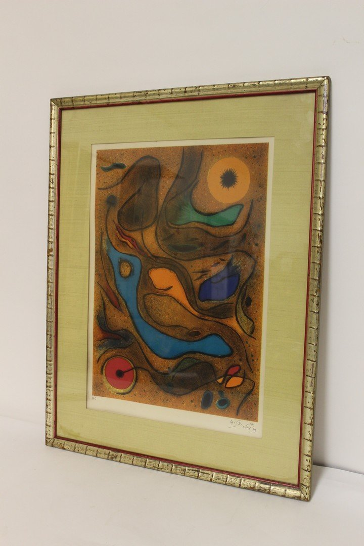 Period Abstract Lithograph Artist Signed - 2