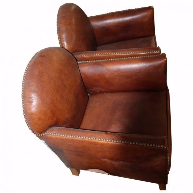 1930's French Diminutive Leather Childs Club Chairs