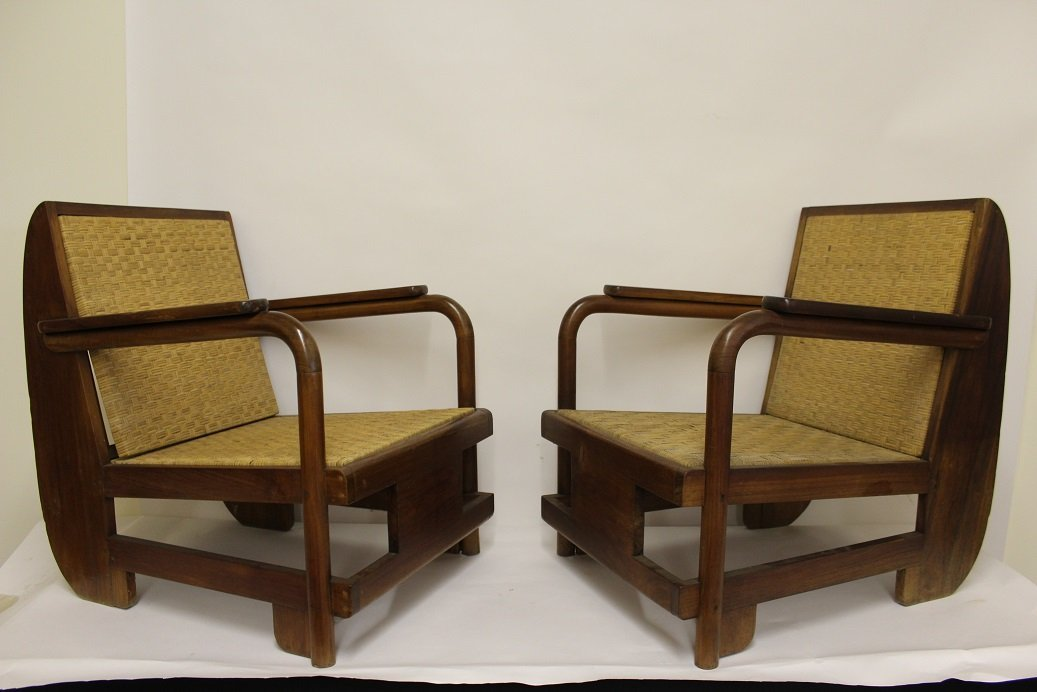 Mid Century Modern Cane Back Lounge Chairs