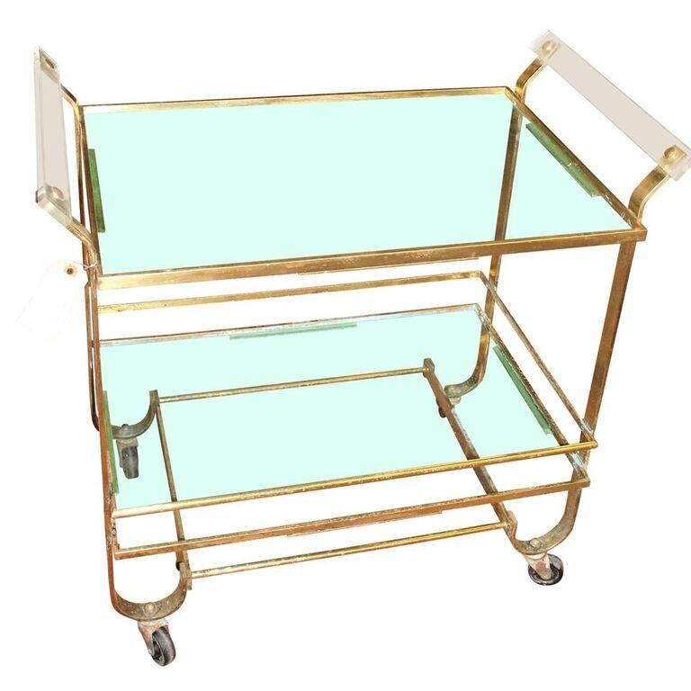 Mid Century Modern Lucite, Glass & Brass Tea Cart.