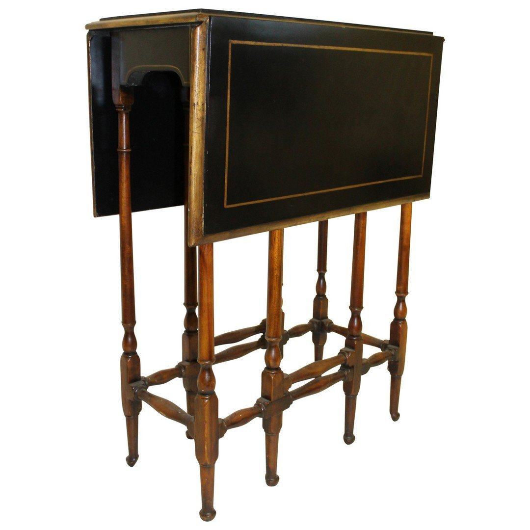 Theodore Alexander Black & Gilt Gateleg Table.
