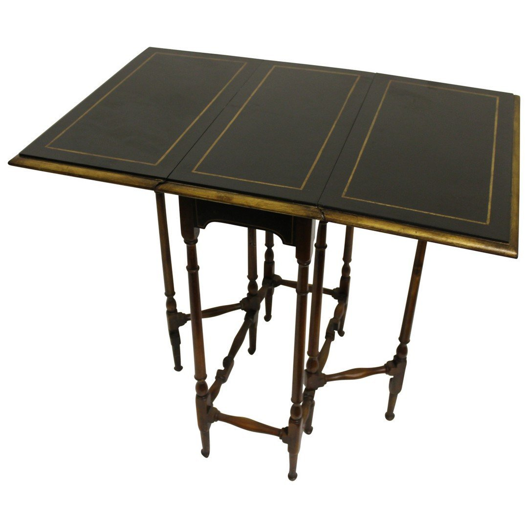 Theodore Alexander Black & Gilt Gateleg Table. - 2