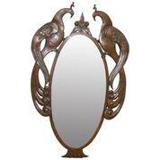 European Period Arts & Crafts Peacock Mirror