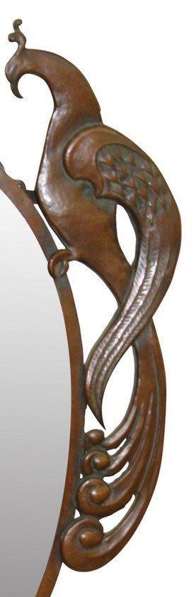 European Period Arts & Crafts Peacock Mirror - 2