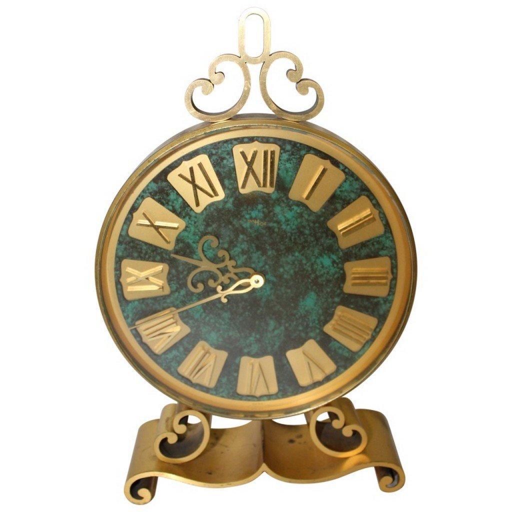 Swiss Brass & Malachite Clock