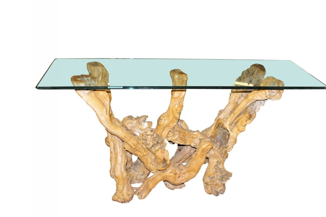 Glass Topped Driftwood Table