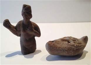 Rome antique. Varia: statuette et lampe a huile