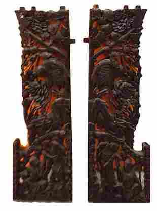 Chine, XIXe. Paire d'elements décoratifs de lit