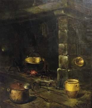 LE ROY Jules (1833-1865). Devant l'atre