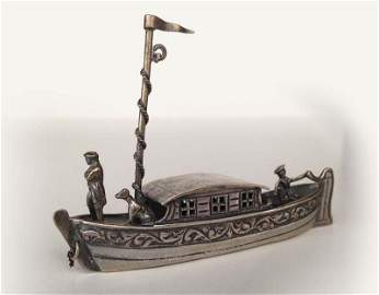 Orfevrerie hollandaise, XVIIIe.  Miniature de barque