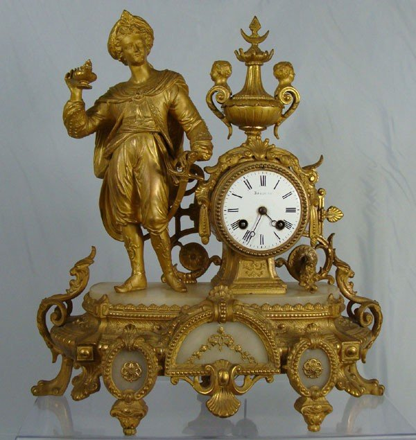 1: French Figural Gilt Mantle Clock, Jaey Freres