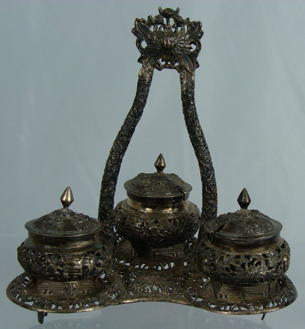 12: Antique Chinese Silver Fitted Cruet Stand