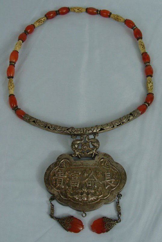 14: Antique Chinese Silver, Corral and Ivory Necklace