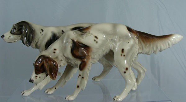 17: Antique German Porcelain Hunting Dogs