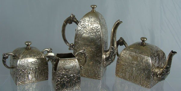 19: 19th Century German Sterling 4 piece Coffee Set