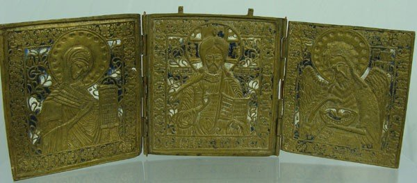 81: 19th Century Russian Triptych Icon