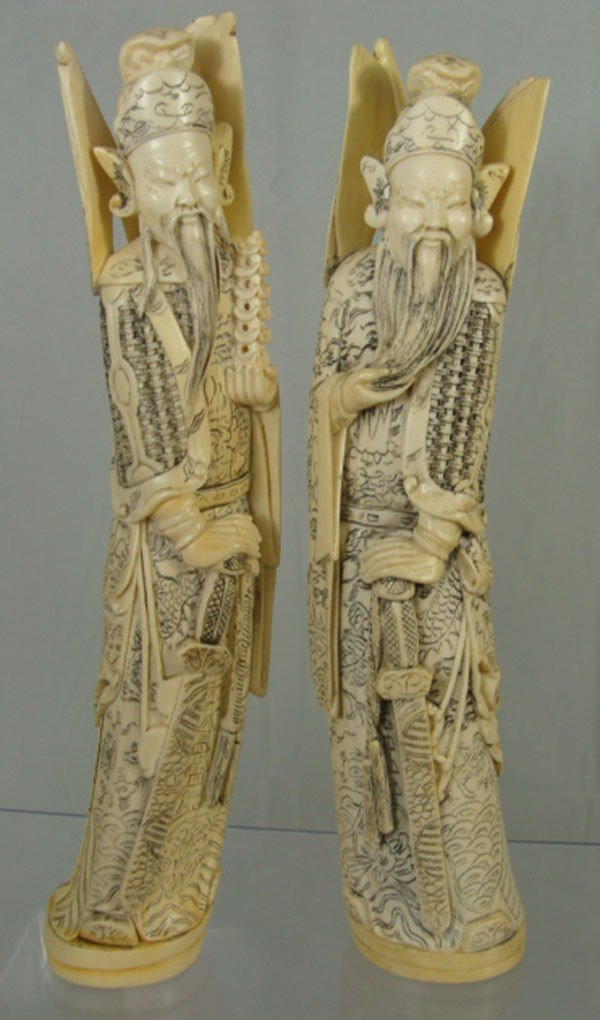 3: Pair of Chinese Carved Ivory Emperor Figures