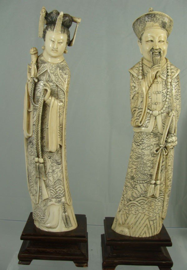 4: Chinese Carved Ivory Emperor & Empress Figures