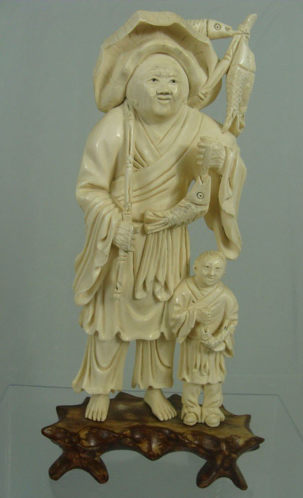 6: Chinese Carved Ivory Fishermen Figure