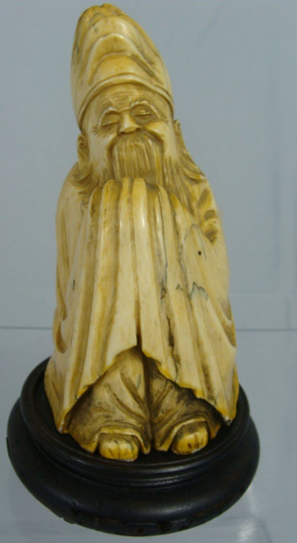 8: Chinese Carved Ivory Monk Old Man Figure