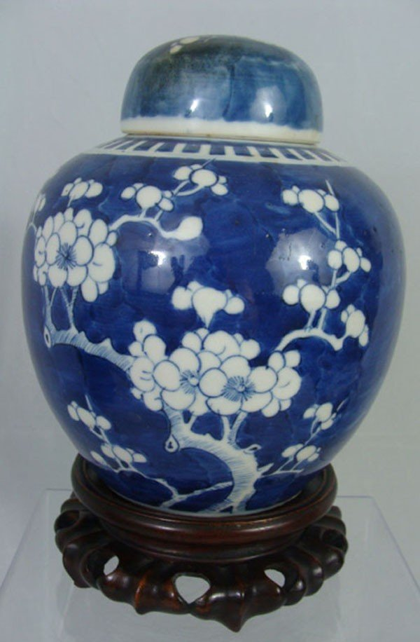 15: Antique Chinese Blue and White Porcelain Covered Ja
