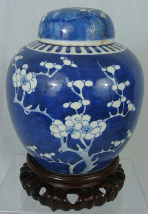 16: Antique  Chinese Blue and White Glazed Porcelain