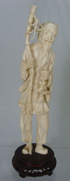 17: 	 Antique Chinese Carved Ivory Man Figure