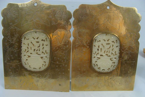 23: Pair of Antique Chinese Bronze Book Holders with Ca
