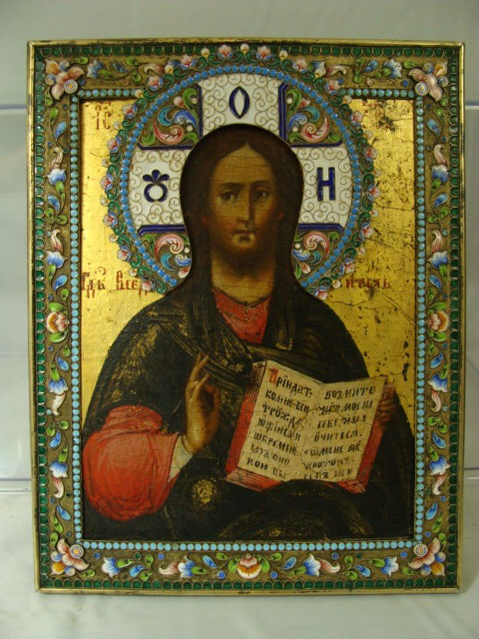 81: Antique Russian Enameled Icon